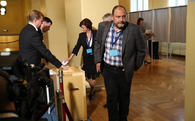Electoral college members casting their ballots in the 2016 presidential elections in Estonia.