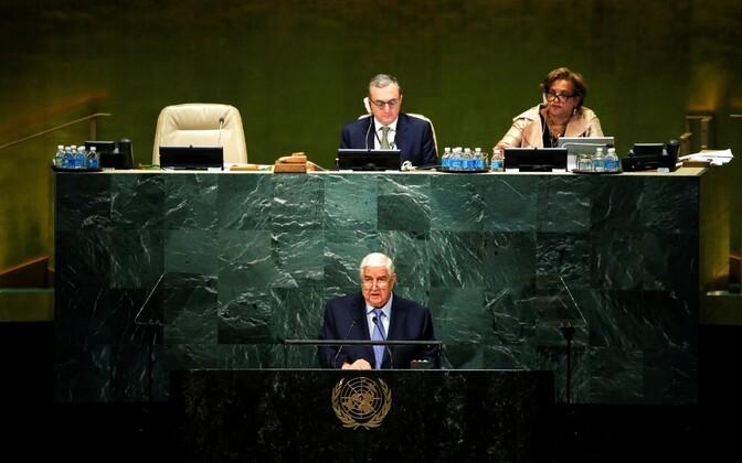 Süüria välisminister Walid Muallem ÜRO Peaassambleel.