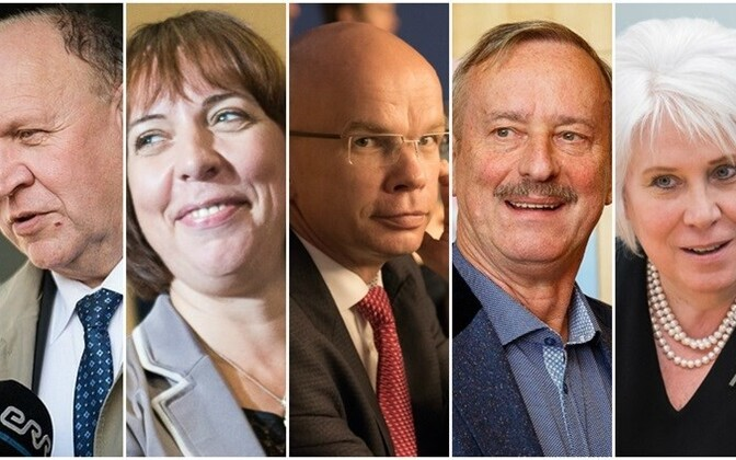 Candidates in two failed elections: Mart Helme (EKRE), Mailis Reps (Center), Allar Jõks (independent, supported by the Free Party and IRL), Siim Kallas (Reform), and Marina Kaljurand (independent)