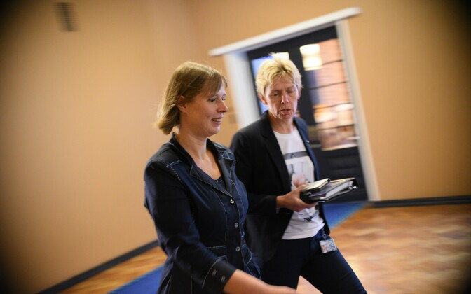 Kersti Kaljulaid, rushing from meeting to meeting on Toompea on Wednesday.