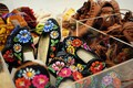 Child-size versions of Estonia's distinctive embroidered and leather slippers available for sale at the museum gift shop.