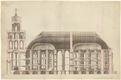 J. W. Krause üks restaureerimisplaan Tartu toomkiriku taastamiseks. Tornidesse on kavandatud tähetorn, keskele kirik ja kooriosasse raamatukogu. Pikilõige.
