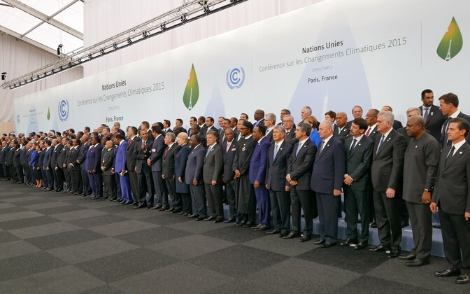 Heads of delegations at the 2015 UN Climate Change Conference (COP21), which led to the signing of the Paris Agreement. Nov. 30, 2015.