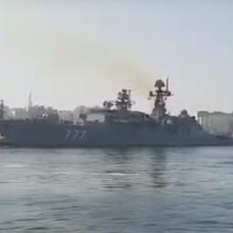 Vene sõjalaev Ceuta sadamas.