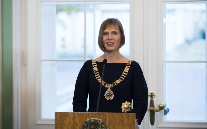 Newly-inaugurated President Kersti Kaljulaid at the presidents' reception in Kadriorg. Oct. 10, 2016.
