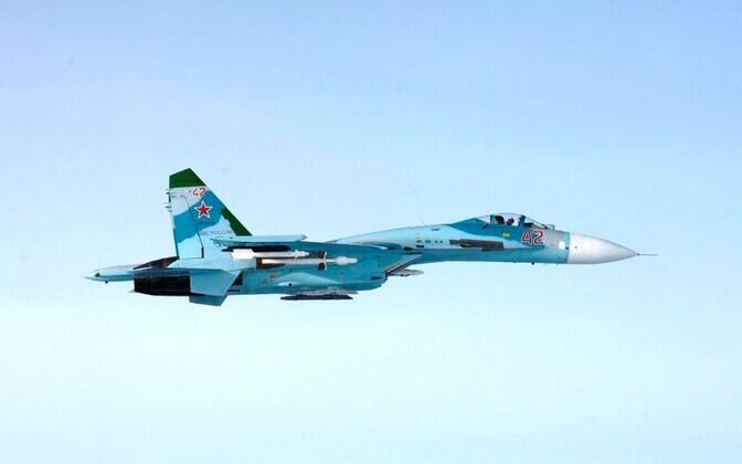 Soome õhuväe poolt tehtud foto Porvoo lähistel õhupiiri rikkunud Vene sõjalennukist Su-27.