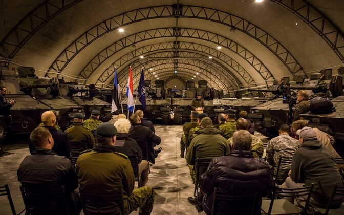 The first of a fleet of CV9035 IFVs recently delivered to Estonia from the Netherlands were presented at a special event held at Tapa Army Base on Wednesday. Oct. 12, 2016.