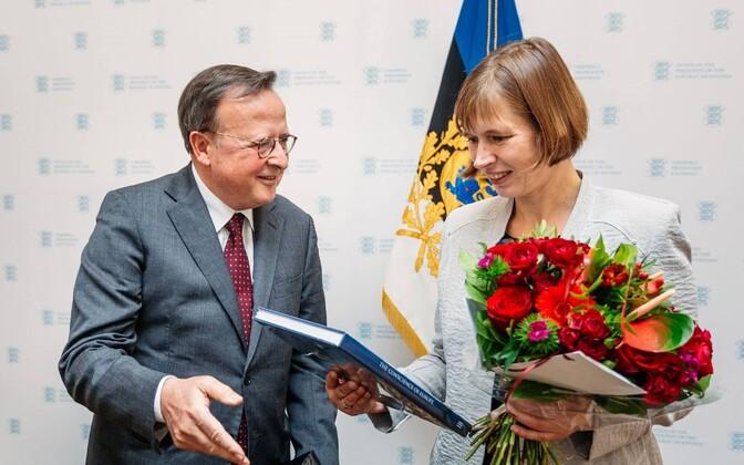 President of the EHCR Guido Raimondi met with President Kersti Kaljulaid in Estonia on Thursday. Oct. 13, 2016.