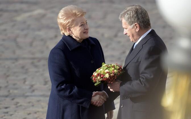 Sauli Niinistö ja Dalia Grybauskaite teisipäeval Helsingis.