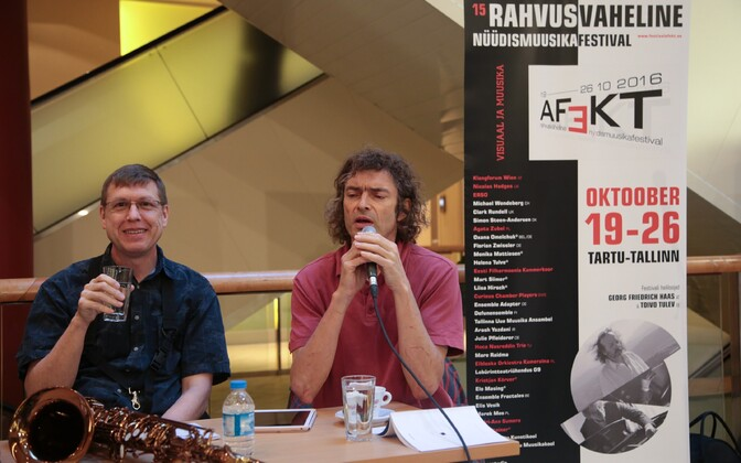 AFEKT International Contemporary Music Festival kicked off with a press conference and brief concert in Solaris Shopping Center in Tallinn. Oct. 18, 2016.