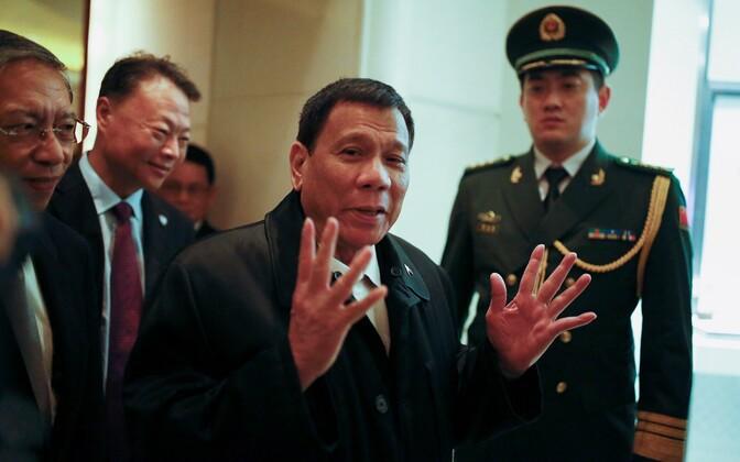 Filipiinide president Rodrigo Duterte 18. oktoobril Pekingis hotelli saabumas.