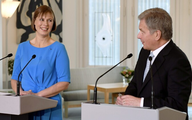Presidents Kersti Kaljulaid and Sauli Niinistö  during a joint press conference held in Finland. October 2016.