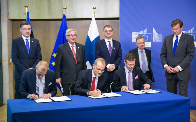 Signing of the Baltic Connector financing agreement in Brussels. Oct. 21, 2016.