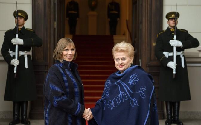 Estonian President Kersti Kaljulaid met with Lithuanian President Dalia Grybauskaitė in Vilnius on Wednesday. Oct. 26, 2016.