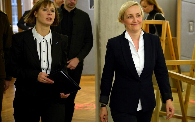 President Kersti Kaljulaid with Kristina Kallas (right),  University of Tartu Narva College. Friday, Oct. 28, 2016.