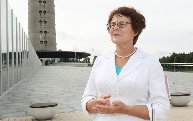 Liina Hänni, a member of the August 20 Club, pictured in front of the TV Tower in Tallinn.