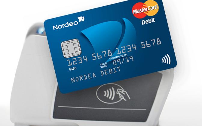 Бесконтактная банковская карта Nordea Debit.
