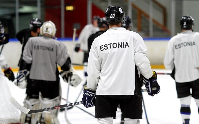 Eesti jäähokikoondis treeningul