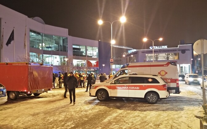 The Port of Tallinn's D passenger terminal was evacuated Thursday night due to potential chemical pollution. Nov. 3, 2016.