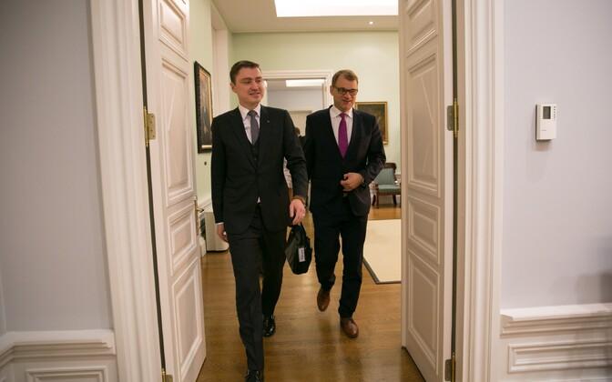 Estonian Prime Minister Taavi Rõivas met with Finnish counterpart Juha Sipilä in Tallinn on Thursday. Nov. 3, 2016.