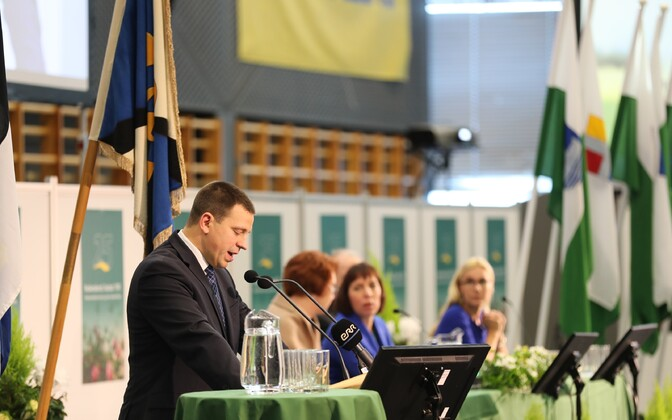 Jüri Ratas speaking at the Center Party's Nov. 5 congress in Paide.