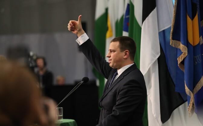 Current party chairman Jüri Ratas at the most recent Centre Party congress.