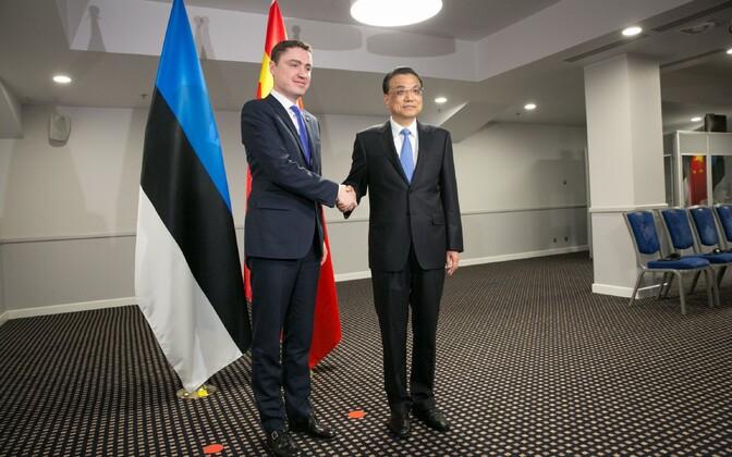 Taavi Rõivas with Chinese Premier Li Keqiang.