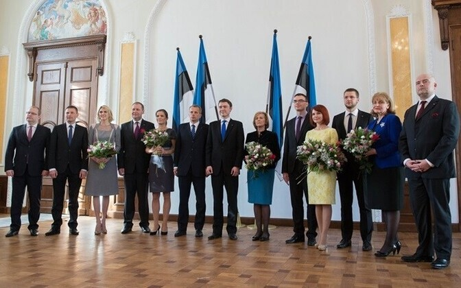 The current coalition's ministers after their oath of office, 2014.
