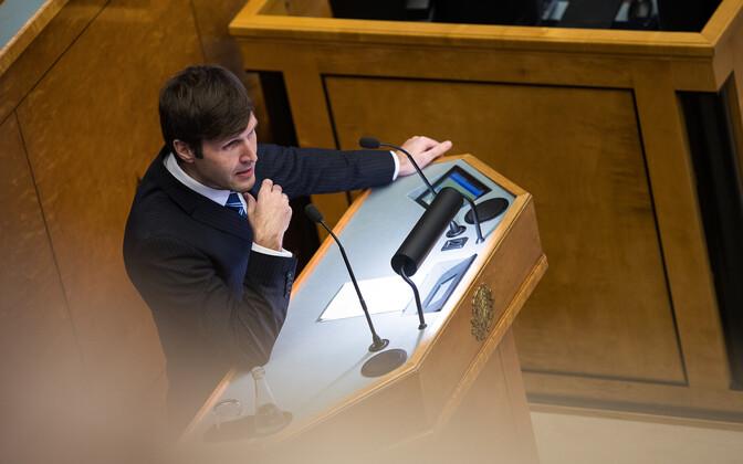 Martin Helme speaking in the Riigikogu.