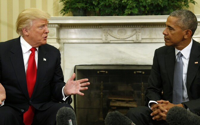 Donald Trump ja Barack Obama Valges Majas.