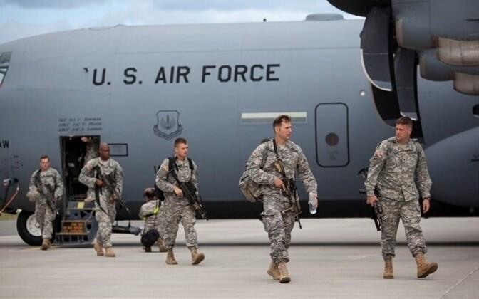 Paratroopers of the U.S. 173rd Airborne Brigade landing at Ämari Air Base, 2014.