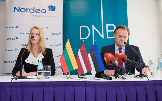 A press conference announcing the merger of Nordea and DNB's Baltic operations. August 2016.