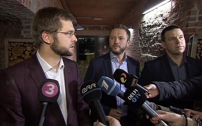 The chairmen of the three negotiating parties: Jevgeni Ossinovski (SDE), Margus Tsahkna (IRL), and Jüri Ratas (Center Party).