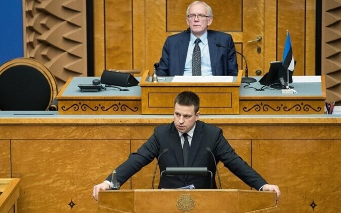 Jüri Ratas speaking to the Riigikogu.