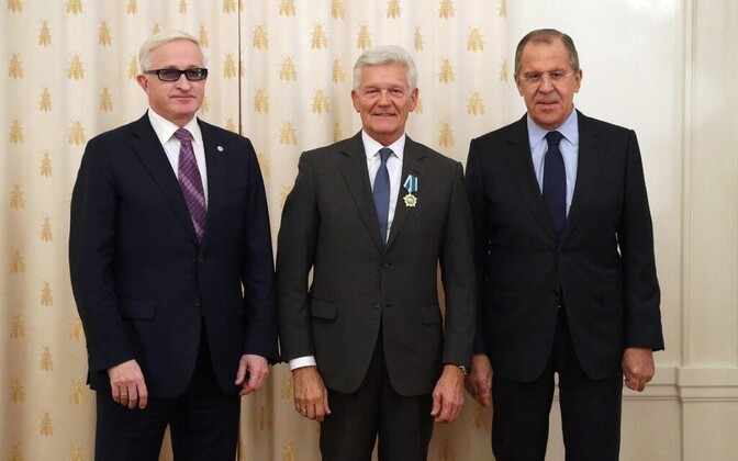 Александр Шохин, Энн Вескимяги и Сергей Лавров.