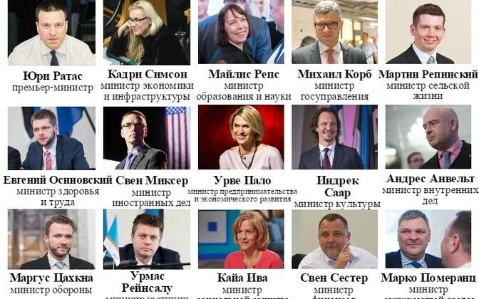 В новом правительстве Эстонии у каждого партнера по коалиции по пять министерских портфелей.