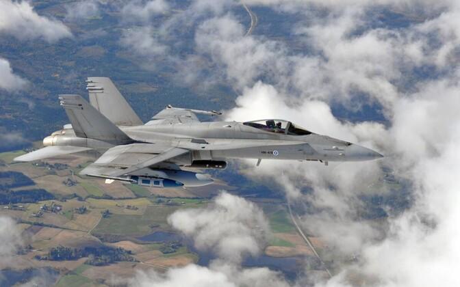 Soome õhuvõe hävituslennukid F/A-18 Hornet.
