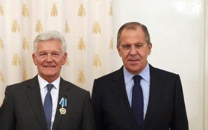 Enn Veskimägi with Russian Minister of Foreign Affairs, Sergey Lavrov.