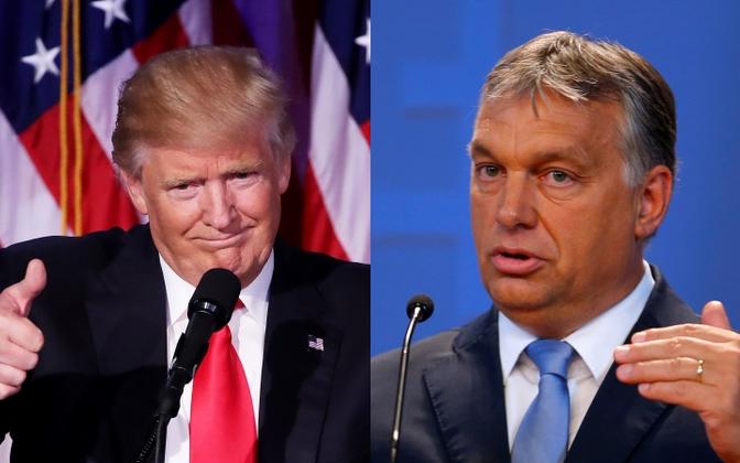 Дональд Трамп (справа) и Виктор Орбан.