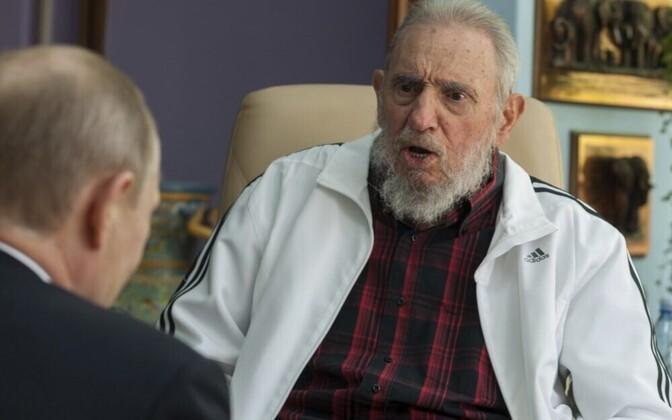 Встреча Владимира Путина с Фиделем Кастро в Гаване в 2014 году.