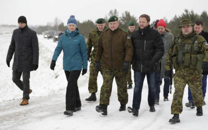 President Kersti Kaljulaid, Lt. Gen. Riho Terras, Minister of Defence Margus Tsahkna (IRL).