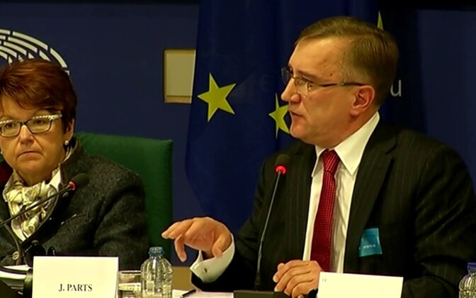 Juhan Parts 5. detsembril Euroopa Parlamendi eelarvekontrolli komisjonile kõnelemas.