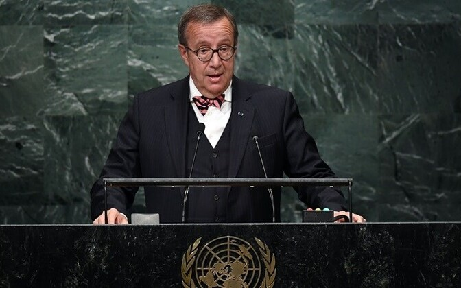Toomas Hendrik Ilves addressing the General Assembly of the United Nations.