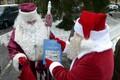 Estonia's Santa Claus and Russia's Ded Moroz, or Grandfather Christmas, met at the Estonian-Russian border between Narva and Ivangorod on Friday. Dec. 16, 2016.