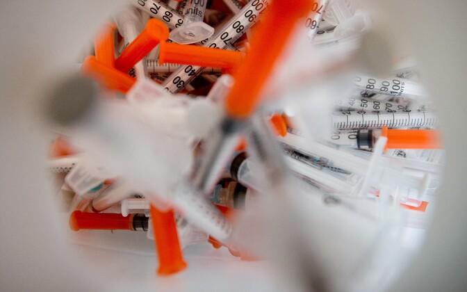 Used needles at a support center on Tallinn's Erika Street run by nonprofit MTÜ AIDS-i Tugikeskus.