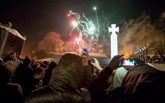 New Year fireworks at Tallinn's Freedom Sq., 2015