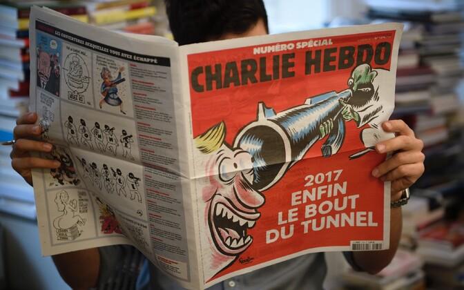 Charlie Hebdo rünnaku teist aastapäeva meenutava eriväljaande esikaas.