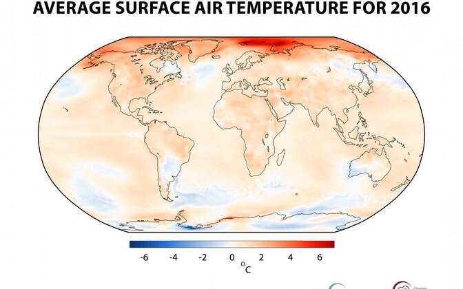 2016. aasta keskmine õhutemperatuur kahe meetri kõrgusel võrreldes 1981-2010. aasta keskmisega.