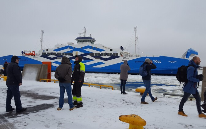 The arrival of the ferry Tõll from Poland to Estonia. January 2017.