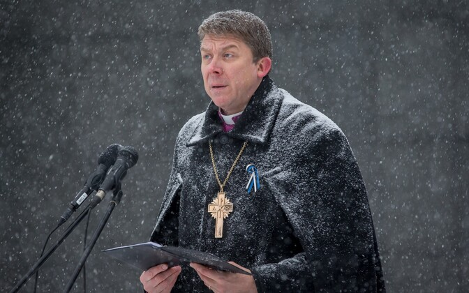 Archbishop Urmas Viilma, head of the EELK, at a ceremony commemorating those who fell in the Estonian War of Independence. Freedom Square, Tallinn. Jan. 3, 2016.
